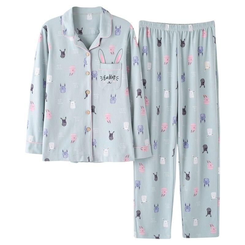 Image 4 - Long Sleeve Cotton Pajama Set 2018 Turn down Collar Sleepwear Spring Autumn Winter Women Pijama Mujer Cute Cartoon Pyjamas Femme-in Pajama Sets from Underwear & Sleepwears