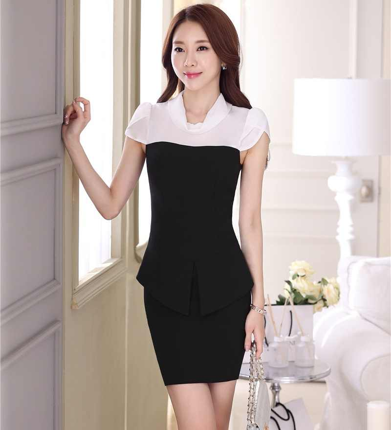 ccdb30beb753 Detail Feedback Questions about Formal Black Slim Fashion Summer  Professional Work Suits With Tops And Skirt Ladies Blazers Outfits Office  Beauty Salon on ...
