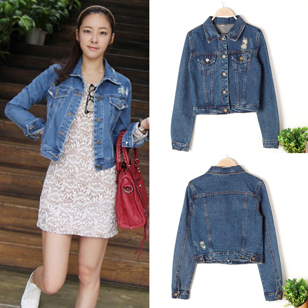 fahion new Autumn Korean wear white women frayed denim jacket ...