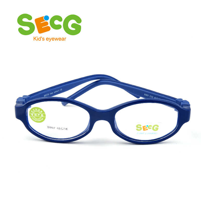 SECG Student Cute Optical Frame Safty Comfortable Flexible Eyeglasses for Children Unisex Kids Frame Rubber with Straps Gafas