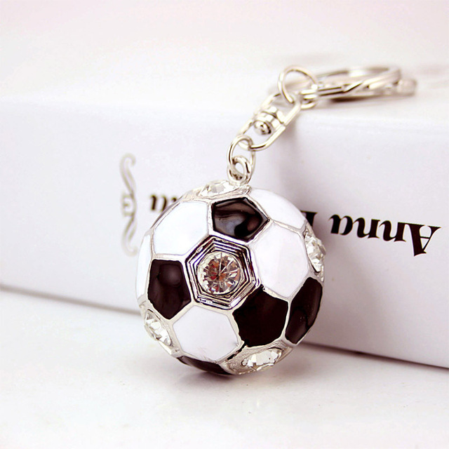 Crystal Football Enamel Rhinestone Keychains Purse Bag Buckle HandBag Pendant For Car Keyrings key chains holder for women K238