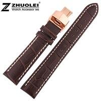 20mm Cena Hurtowa New Top Quality Brown Skórzana Watch Strap Z Białe Naszytą Watchband Różowe Złoto Rozmieszczenia przepięciem