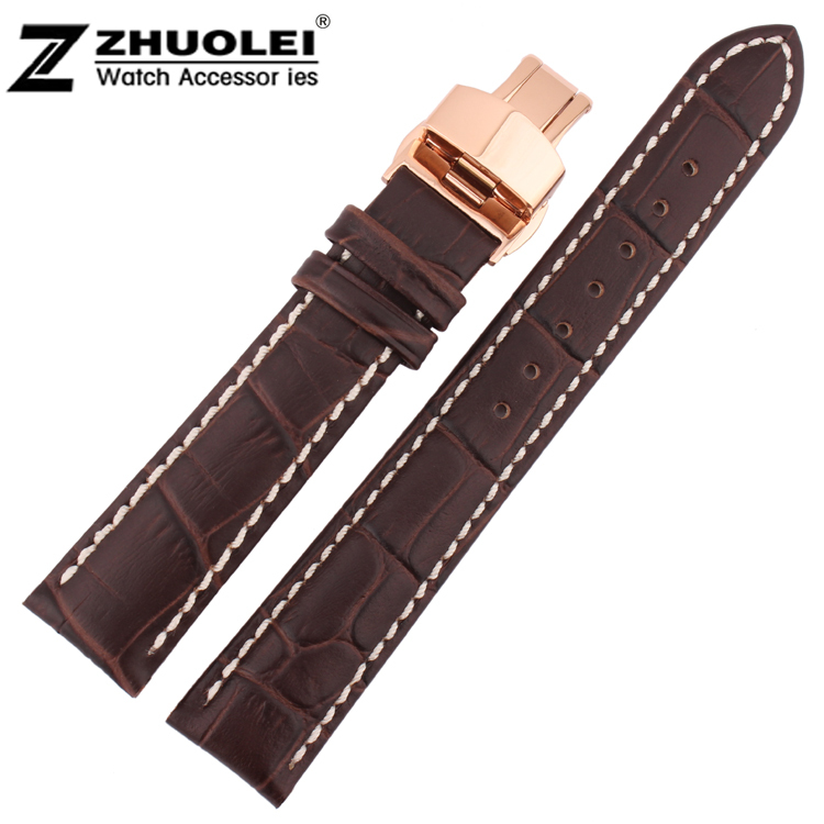 20mm Wholesale Price New Top Quality Brown Genuine Leather Watch Strap With White Stitched  Watchband Rose Gold Deployment Clasp top quality 2 mm machine stitched kendo bogu aizome deer leather men do kote tare free shipping