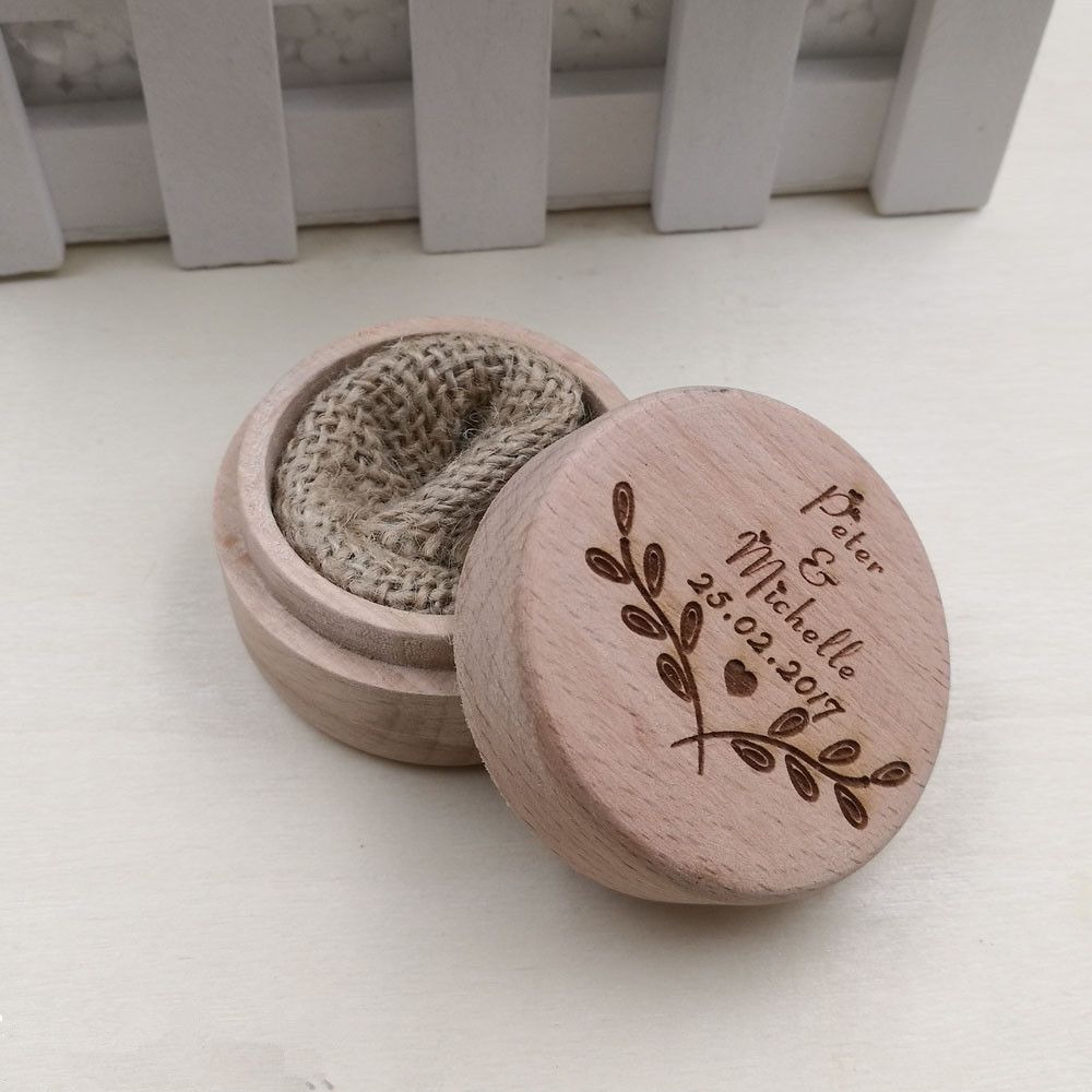 Free Shipping Unique Personalized Wooden Wedding Ring Boxes Engrave
