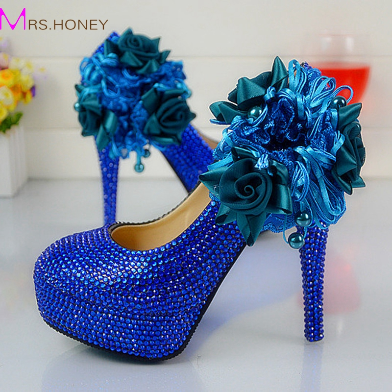 ФОТО Wedding Dress Shoes Royal Blue Color Rhinestone Party Prom High Heel Shoes Handmade Lady Anniversary Party Pumps Plus Size
