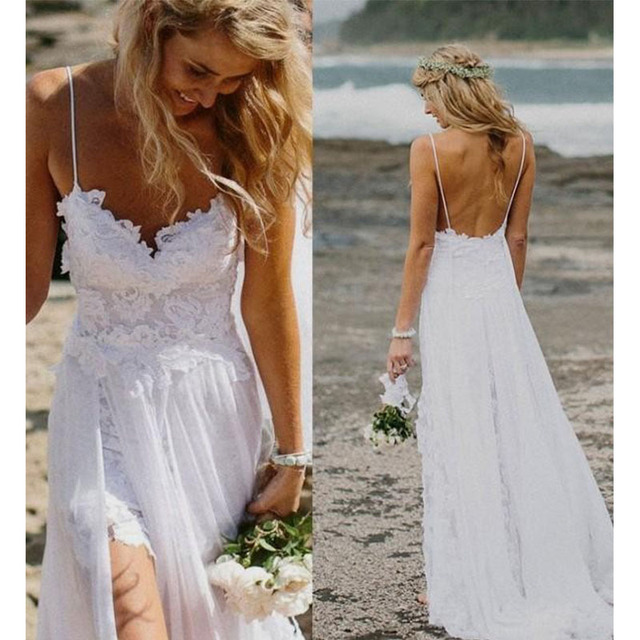 Summer Spaghetti Strap Beach Cheap Wedding dresses Lace Front Short Long Back Vestidos 2016 Bride Dress under 60 Top Selling