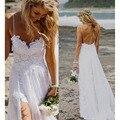 Verano Correa de Espagueti de la Playa vestidos De Novia Barato Trasero Largo Corto Delantero Vestidos de Encaje 2016 Vestido de Novia debajo de 60 Venta Superior