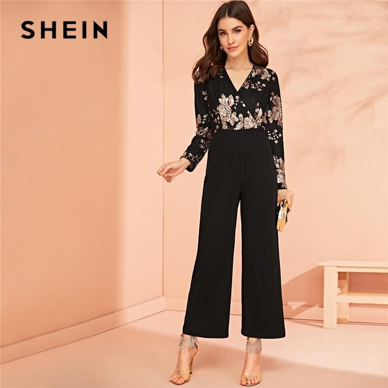 SHEIN Surplice Wrap Sequin Embroidered Wide Leg Jumpsuit Black Elegant Long Sleeve V Neck Spring Autumn Wide Leg Jumpsuits