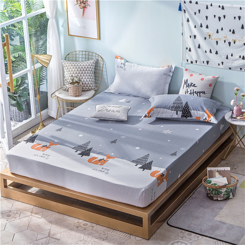 Cartoon Gray Fox Pattern Polyester Fitted Sheet Bed Sheets Comfort Mattress Cover Bedding Linens Bed Coverlet Set Queen Size