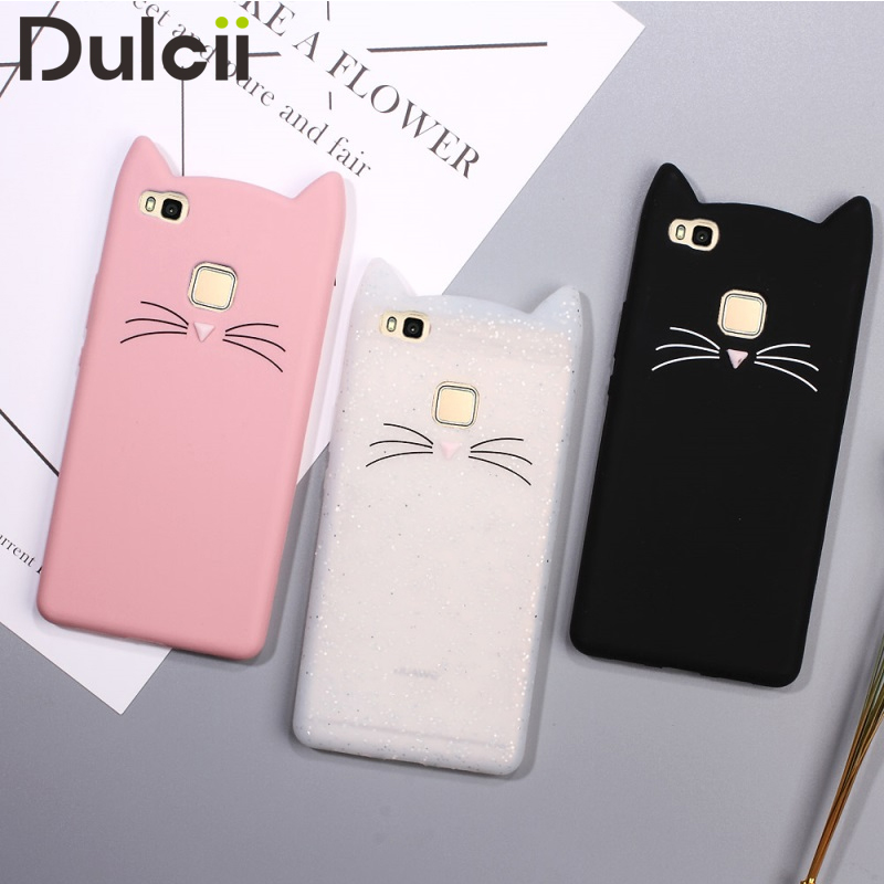 dulcii coque fundas for huawei p8 p9 p10 lite 2017 case 3d moustache cat silicone case soft. Black Bedroom Furniture Sets. Home Design Ideas