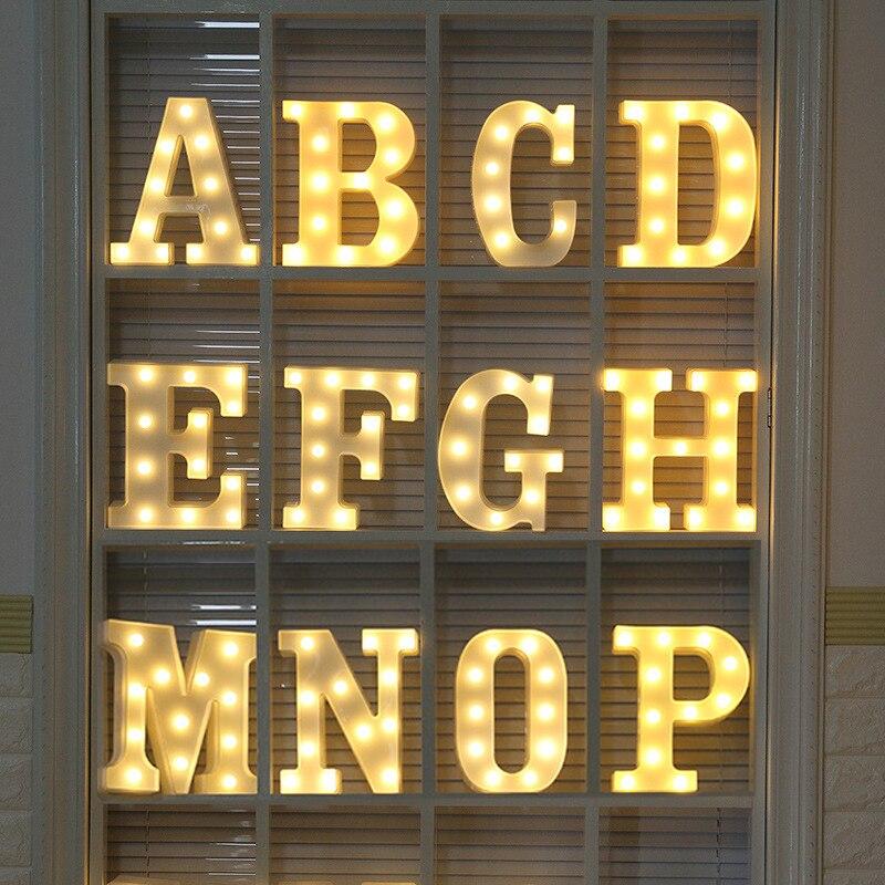 26 lettere di Festa HA CONDOTTO LA Luce di Notte 3D Tendone Segno Alfabeto Lampada di Notte luminaria Decorazione Festa Nuziale di Compleanno nightlight