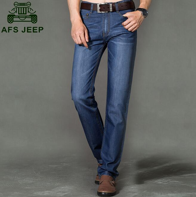 Fashion Plus Size 44 AFS JEEP Homme Thin Spring Summer Straight Jeans Mens Slim Fit Pants