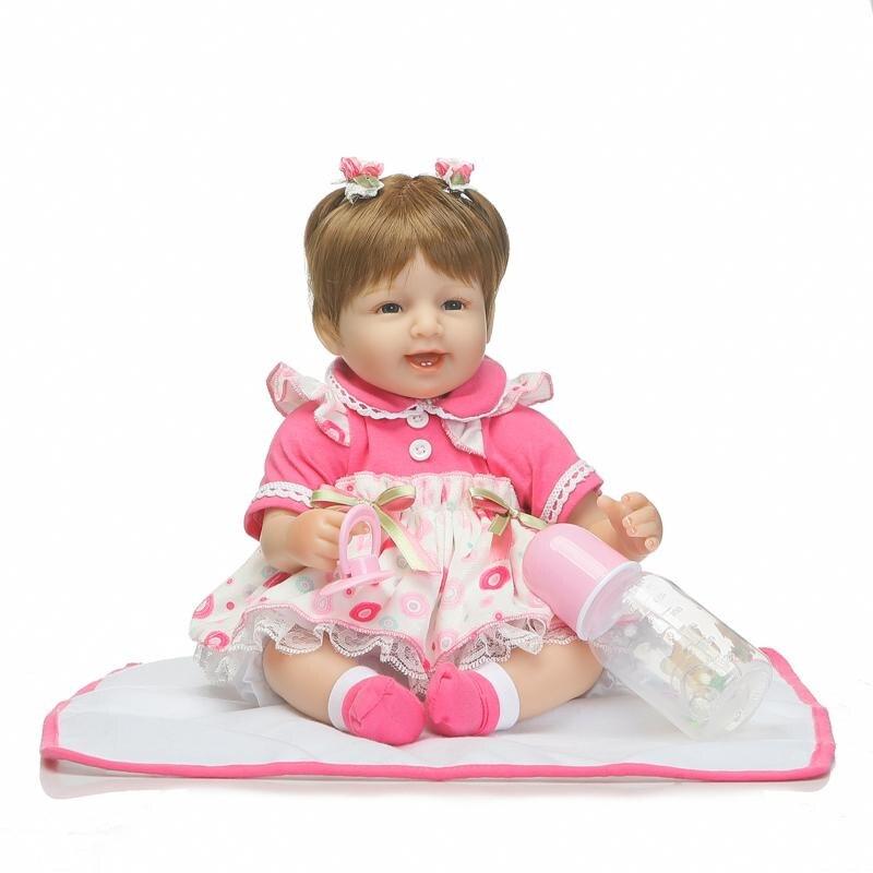 Buy 42cm Soft Body Silicone Reborn Baby Doll Toy Girls Vinyles Newborn Girl Babies Dolls Kids Children Gift Boy Brinquedos