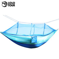 210T Nylon Fabric Netting Hammock High Strenght Portable Hamac Can Fold Into Pouch Mosquito Net Hamak