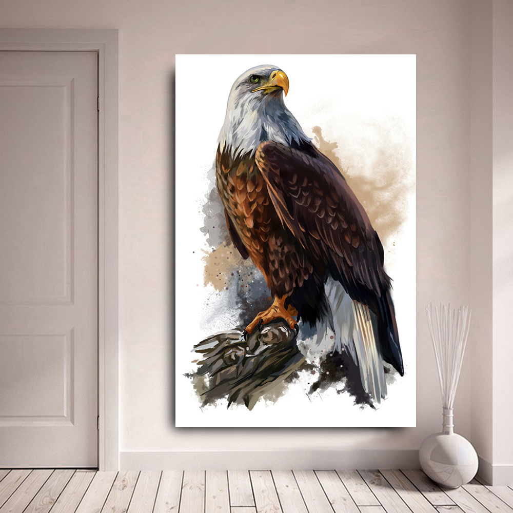 Print Canvas Oil Painting By Numbers Bald Eagle Animals