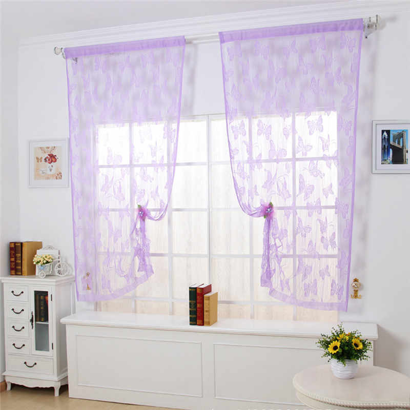 Butterfly Jacquard Line Tulle Curtains Romantic Curtain Partition Curtain Porch Korean Curtain for The Kitchen