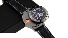 การออกแบบด้านบนไฟแช็กผู้ชายนาฬิกาArcเบาชาร์จUSBชีพจรตัวละครไฟแช็Windproofควอตซ์ดูเบาของขวัญ