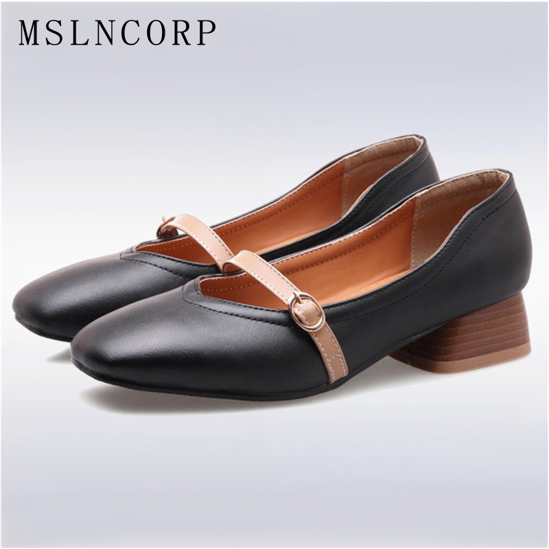Plus Size 34-46 Fashion Spring Women Shoes Mary Janes Buckle Flats Square Toe Strange Style Heels Shoes PU Leather Zapatos Mujer