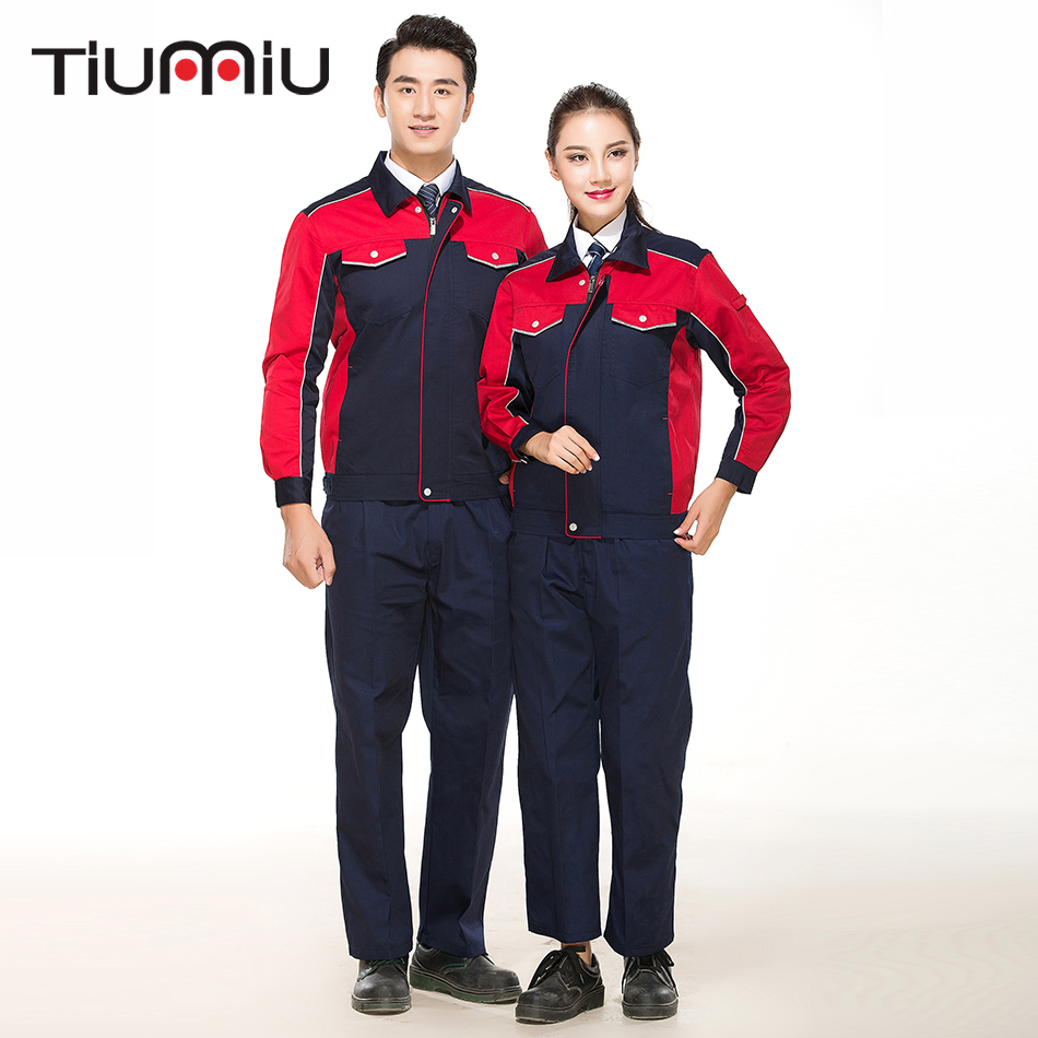 New Wholesale Unisex Work Wear Sets Protective Clothing Patchwork Coat With Pants Engineering Service Sets With Pockets Workshop