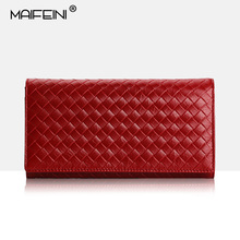 MAIFEINI 100% Genuine Ladies leather-based pockets Luxury model Fashion Knitting lengthy trifold girls wallets and purses Clutch