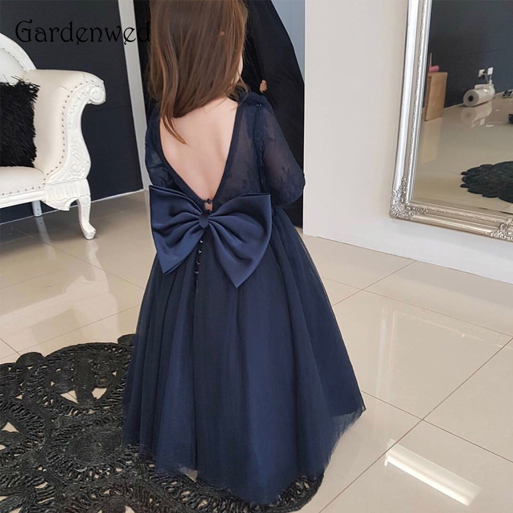 Gardenwed Navy Blue   Flower     Girl     Dresses   2019 Long Sleeves Ball Gown Tulle Kids Size 14 Back Bow Knot Puffy   Dresses   for Kids