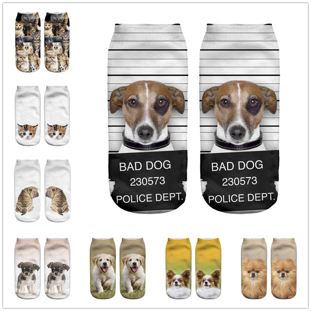 KLV Unisex Summer 3D Printed Cotton Socks Lovely Dog Printed Casual Style 19cm Low Anklet Socks Women Calcetines Chaussettes