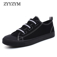 ZYYZYM модные кроссовки для мужчин вулканизировать обувь черный, белый цвет плоская эластичная лента человек парусиновая высокое качество
