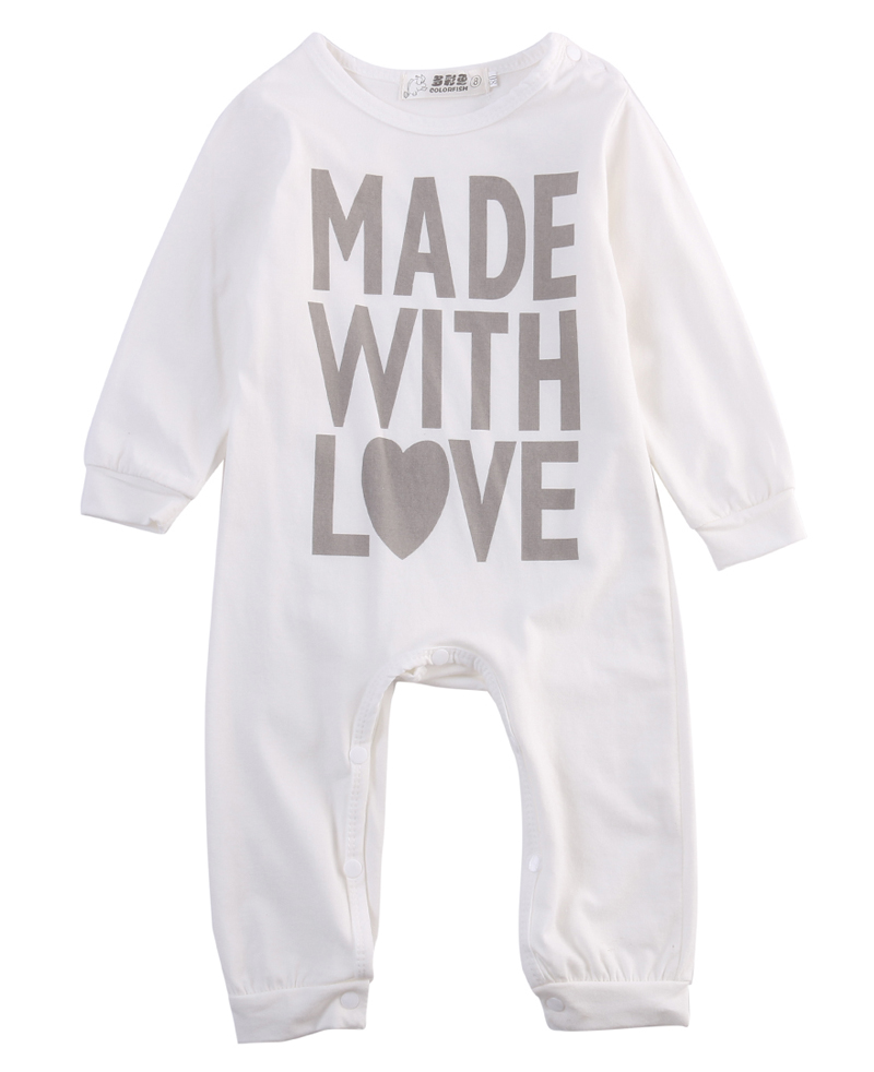 Infant Baby Boy Girls Warm Clothes Long Sleeve Letter   Romper   Jumpsuit Outfits