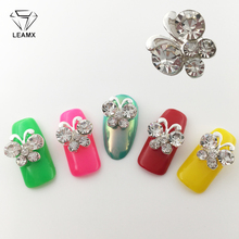 LEAMX 10Pcs Butterfly Nail Jewelry Nails Art Glitter Rhinestone Charm 3D Metal Decrotions Charms For ManicureL376
