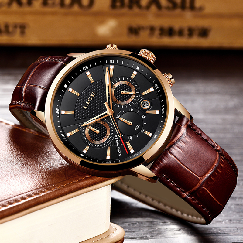 Image 2 - LIGE Mens Watches Top Brand Luxury Leather Casual Quartz Watch Men Military Sport Waterproof Clock Gold Watch Relogio Masculino-in Quartz Watches from Watches