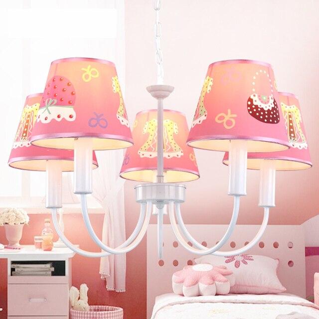 US $80.0 |3/5 Heads Children\'s Bedroom Garden Creative Dress Cap LED  Hanging Chandelier Princess Bedroom Light Pink Girl Children\'s Room-in  Pendant ...