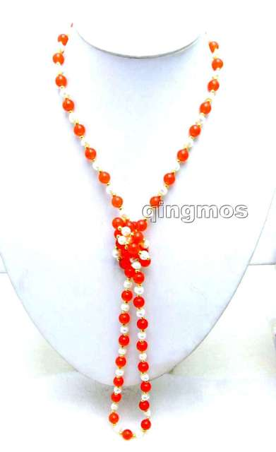 SALE 6-7mm White Natural freshwater Pearl & 8mm Round China Red Jade 40'' Necklace -nec6057 wholesale/retail Free shipping