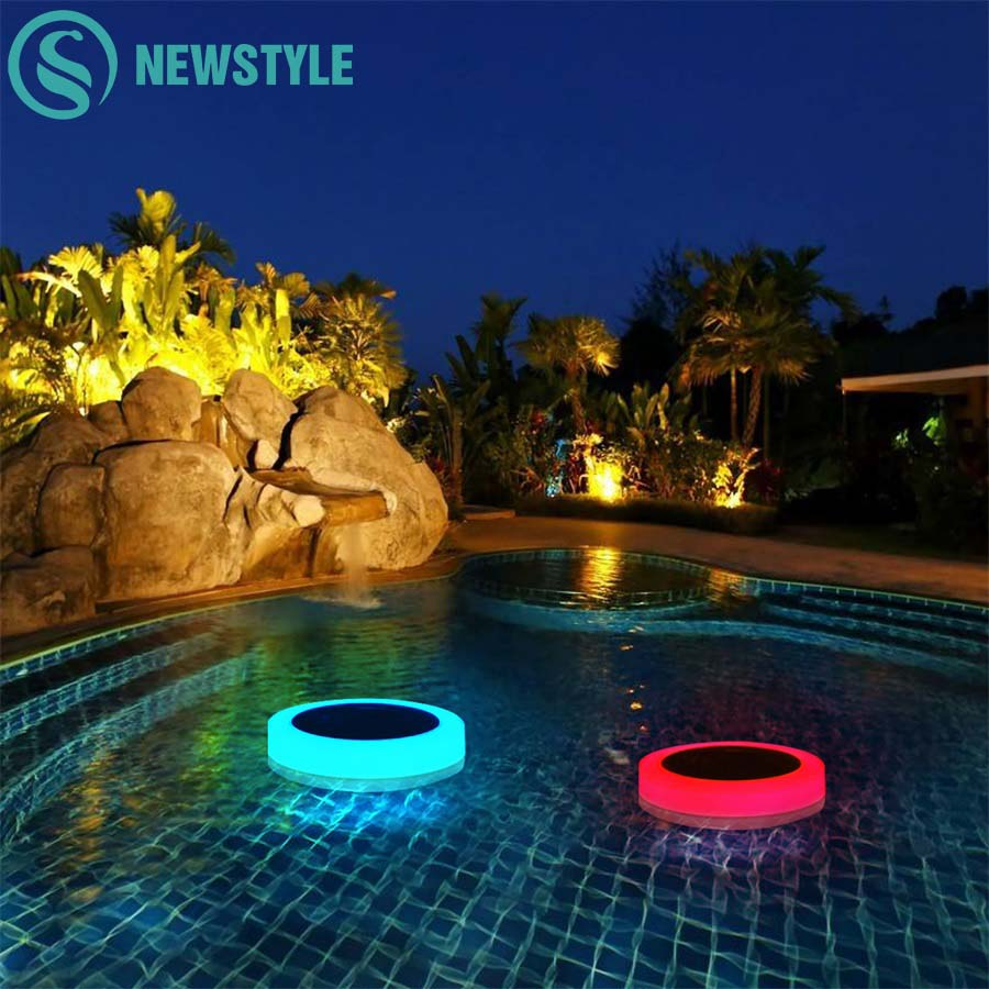RGB LED Underwater Light Solar Powered Pond Light Outdoor Swimming Pool Floating Party D ...