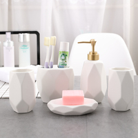 Solid color ceramic Bathroom Accessories Sets 5 piece bathroom soap dispenser toothbrush holder mouth cup soap dish mx6141439