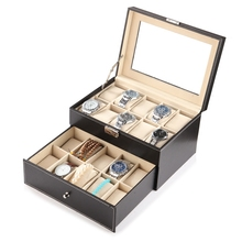 Double Layer Locked Jewelry Box Watch Receiving Box Glasses Ring and Necklace Jewelry  Organizer Display Storage Case with Lock