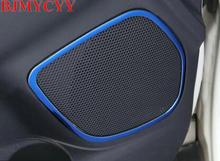 BJMYCYY 4 шт. автомобиля внутри аудио говорить нержавеющая сталь звук кольцо круг лампы Накладка для Mitsubishi ASX 2013-2017