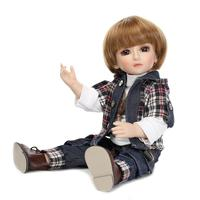 NPKcollection 45cm BJD dolls full silicone cute American boy with short hair and lovely kids clothes silicone reborn baby dolls