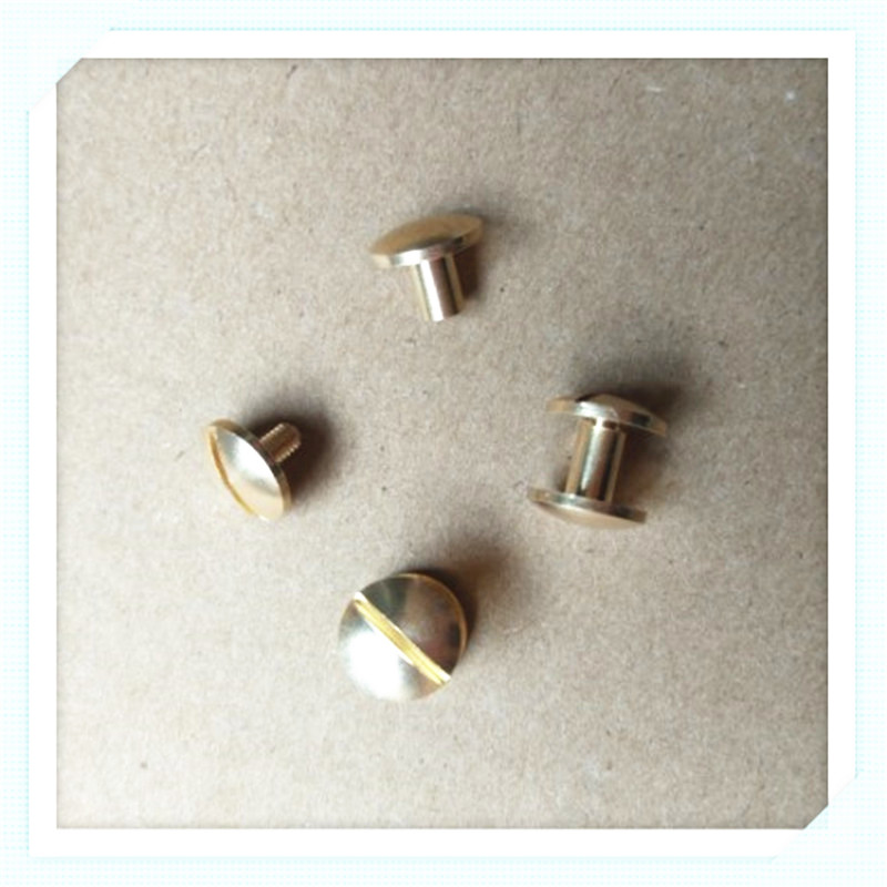 10 sets 10*4/5/6/7/8mm round head solid Brass Chicago Rivets Studs Screw Screwback For Leather Craft Handbags Shoes 5pcs m6 m6 14 m6x14 brass cap copper half round pan head solid rivet
