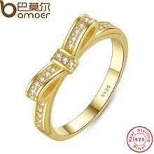 Bamoer authentique 100% 925 sterling silver bow noeud bague superposable micro pave cz rose couleur femmes de mariage bijoux pa7129(China (Mainland))