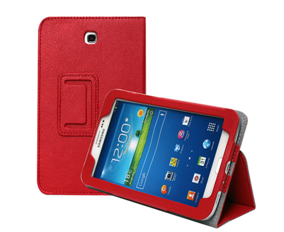 Case for <font><b>Samsung</b></font> <font><b>Galaxy</b></font> <font><b>Tab</b></font> <font><b>3</b></font> T210 <font><b>T211</b></font> Litchi Solid PU Leather Tablet Cover Stand Case for <font><b>Galaxy</b></font> P3200 7.0''Tablet Capa Case image