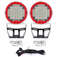 2pcs 9inch Spot Flood Driving Headlight LED Round Work Light 370W Head Lamp 6000K 10 30V For Jeep Offroad With Wiring Harness