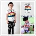 2017 niños del verano del resorte del arco iris patrón camisetas ropa niñas niños ropa de niños ropa de marca ins caliente nueva llegada al por mayor