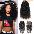 10A Brazilian Virgin Hair With Closure 4 Bundles Kinky Curly Brazilian Bundles With Closure HJ Weave Beauty Bundles And Closure