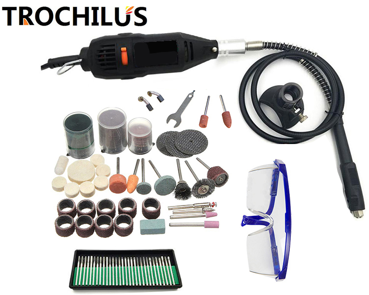 Troutlius 180W electrical tools dremel Variable Speed mini Grinder  Drilling Cutting electrical engraver Polishing Kits
