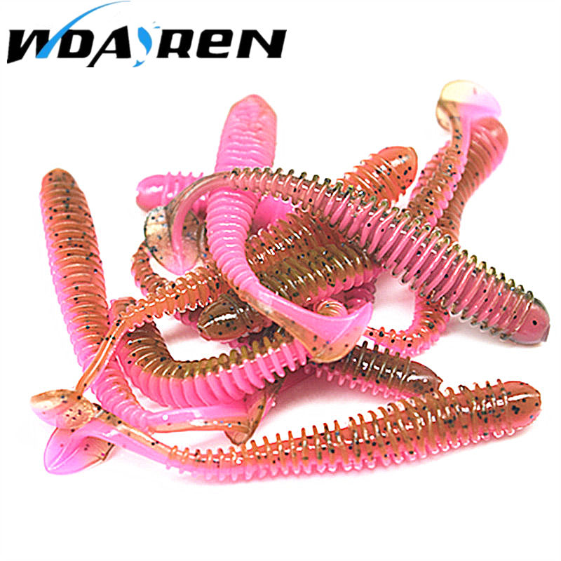 10pcs/lot 5.5cm 0.8g Artificial Soft Bait Worm Swimbaits Fishing Lure 8 Color silicone T Tail Lure Fly Fishing Bait FA-398 20pcs lot silicone fish shaped fishing artificial lure bait 5cm soft silicone tiddler bait fishing lure