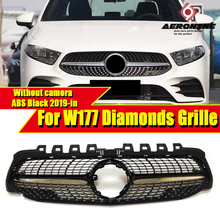 Fits For MercedesMB A Class W177 Diamonds Style Grill Without Camera A180 200 250 ABS Black Front Bumper Grille Sign 19+
