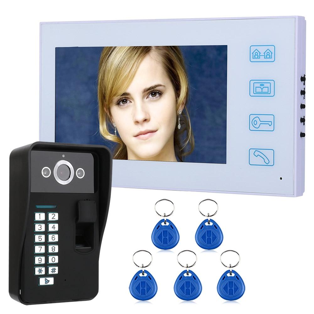 7 TFT Fingerprint RFID Password Video Door Phone Intercom Doorbell With Night Vision Security CCTV Camera7 TFT Fingerprint RFID Password Video Door Phone Intercom Doorbell With Night Vision Security CCTV Camera