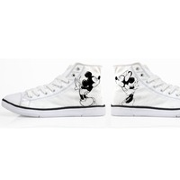 b42380168be3 ELVISWORDS Fahison Mouse Lover Canvas Shoes Women White Printing High Top  Sneakers Cartoon Vulcanize Flats for
