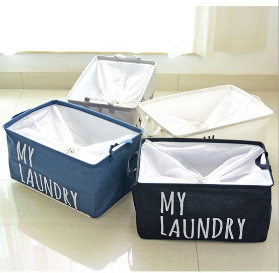 Free Fashion45*30*25CM Cotton Linen Laundry Basket Folding Storage Bag  Storage Box Cloth Organizer,0741