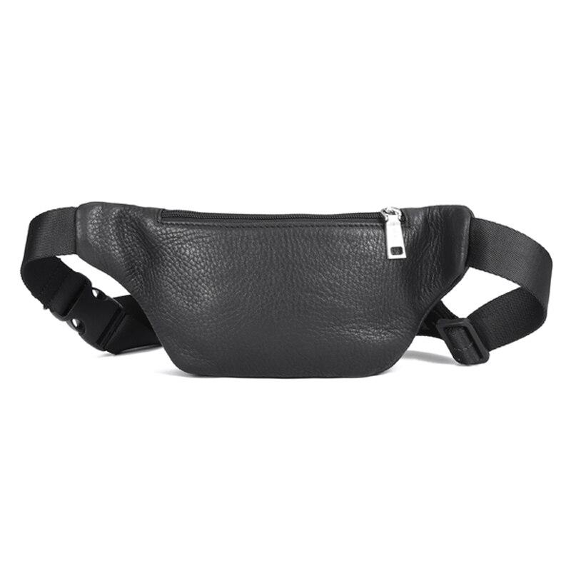 HT Genuine Leather Men's Waist Bag Brand Designer Leather Casual Waist Belt Pack High Quality Waist Belt Bag Male Black Zipper